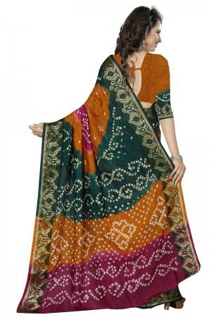 Beauteous Multi Colour Cotton Silk Bandhani Saree