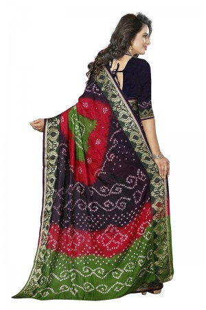 Amiable Multi Colour Cotton Silk Bandhani Saree