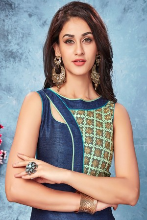 Navy blue chennai silk designer embroidered kurti