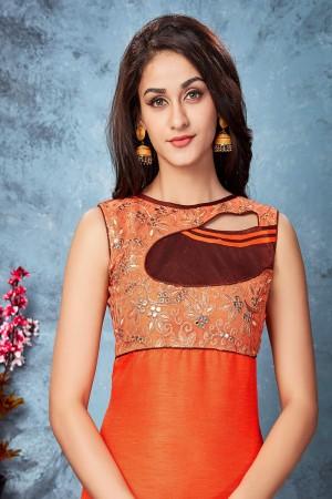Brown & orange chennai silk designer embroidered kurti
