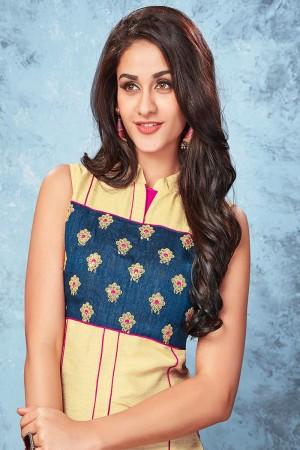Cream & hot pink chennai silk designer embroidered kurti