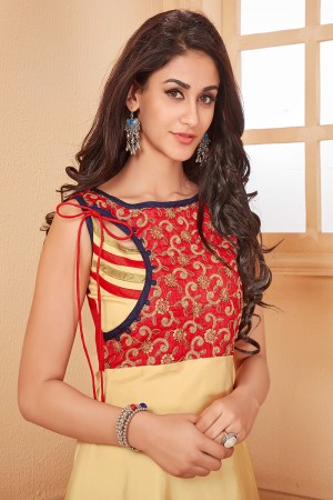 Beige Taffeta Silk Designer Embroidered Gown
