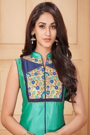 Cyan Taffeta Silk Embroidered Designer Gown