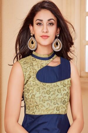 Beige & Navy Blue Taffeta Silk Designer Embroidered Gown