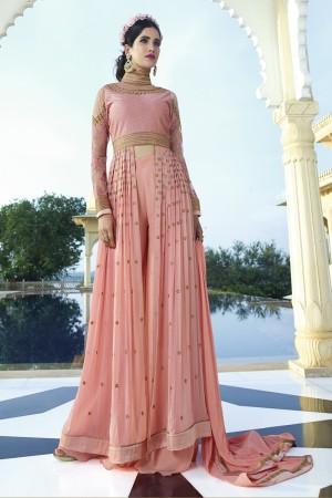 Orange Royal Georgette Heavy Embroiderd Zari Work on Nack and sleeve with Butti Work Semi stitch Salwar Kameez