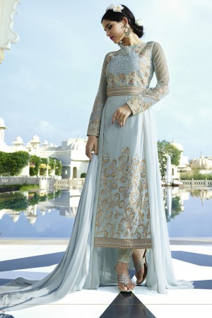 Sky Blue Royal Georgette Heavy Embroiderd Zari Work on Nack and sleeve with Butti Work Semi stitch Salwar Kameez