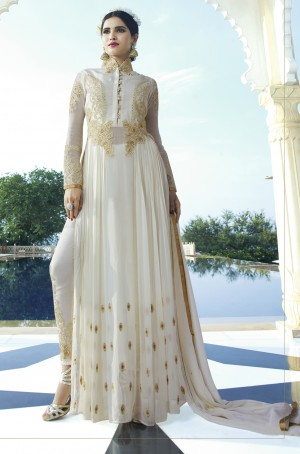 Off White Royal Georgette Heavy Embroiderd Zari Work on Nack and sleeve with Butti Work Semi stitch Salwar Kameez