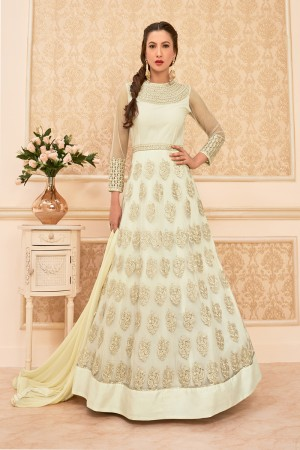 Gauhar Khan Off white Heavy mono Net Heavy Embroidered Butta work with Lace border Anarkali Suit