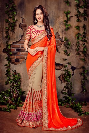 Orange & Beige Georgette Zari and Thread Embroidered Chain Stitch Work with Multi Embroidered Lace Border Saree