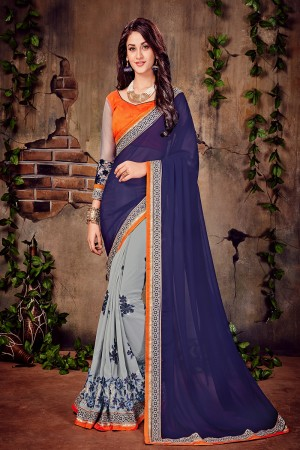 Navy Blue & Grey Georgette Zari and Thread 3D Embroidery Work With Embroidered Lace Border Saree