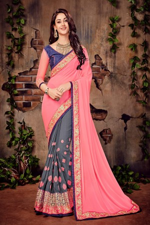 Pink & Grey Georgette Zari,Thread & Dori Embroidery Work with Embroidered Lace Border Saree