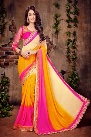 Pink & orange & Beige Georgette Zari and Thread Embroidered Work with Embroidered Lace Border Saree