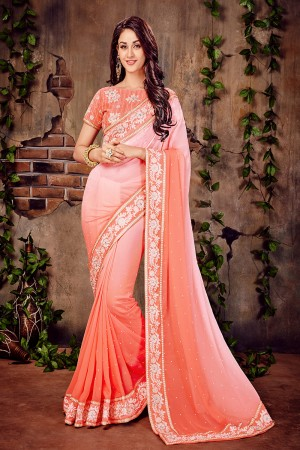 Peach Georgette Cotton Thread Embroidered Work with Embroidered Lace Border Saree