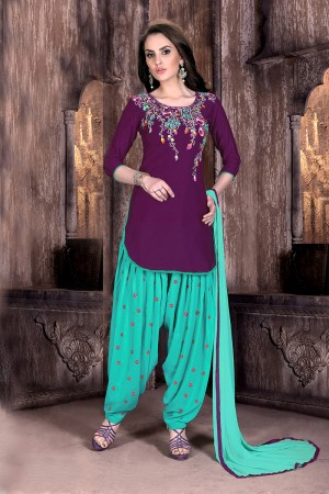 Wine Cotton Heavy Embroidery on neckline and sleeve with butti work on bottom   Dress material