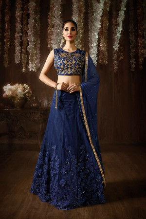 Blue Net&Raw Silk Embroidered, Stone & Lace Work Semi-Stitched Salwar Kameez