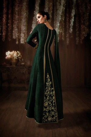 Dark Green Net & Raw Silk Embroidered, Stone & Lace Work Semi-Stitched Salwar Kameez