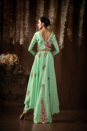 Pista Raw Silk Embroidered, Stone & Lace Work Semi-Stitched Salwar Kameez