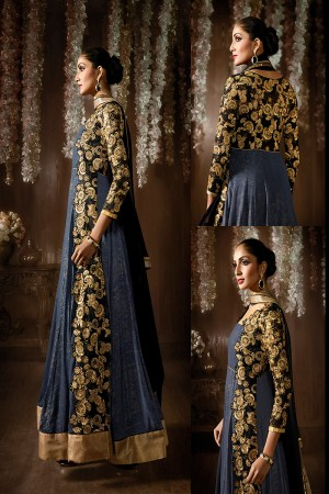 Grey Shimmer Georgette Embroidered, Stone & Lace Work Semi-Stitched Salwar Kameez