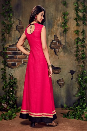 Dark Pink Silk Lace Work Kurti