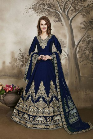 Dark Blue Designer heavy embroidery Kali Work with embroidery work lace border dupatta Salwar Kameez