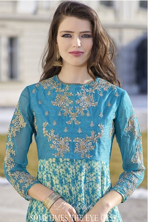 Sku Blue Bhagalpuri Silk with Georgette Print Embroiderd Zari Work on Sleeve and Nack with Printed Top Salwar Kameez