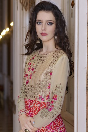 Chikoo&Multi colour Bhagalpuri Silk with Georgette Print Embroiderd Zari Work on Sleeve and Nack with Printed Top Salwar Kameez