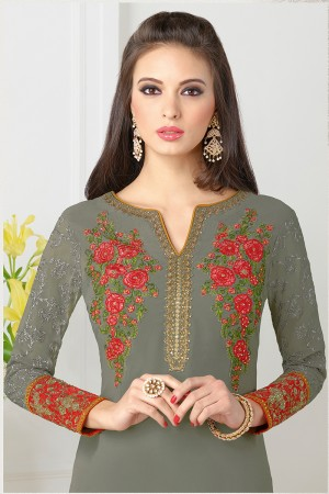 Mehendi Georgette Heavy Embroidered On Nack and Sleeve Work with Lace Border Salwar kameez