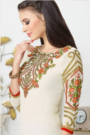 Off White Georgette Heavy Embroidered On Nack and Sleeve Work with Lace Border Salwar kameez