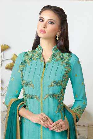 Sky Blue Georgette Heavy Embroidered On Nack and Sleeve Work with Lace Border Salwar kameez