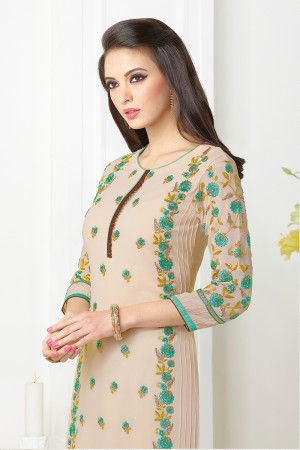Chikoo Georgette Heavy Embroidered On Nack and Sleeve Work with Lace Border Salwar kameez