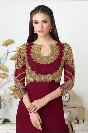 Maroon Georgette Heavy Embroidered On Nack and Sleeve Work with Lace Border Salwar kameez
