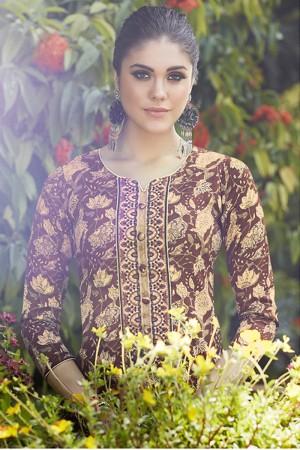 Brown&Cream Pure Cotton Dress material