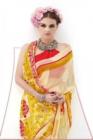 Lemon Yellow Pure Marble Brasso Print Work  Saree