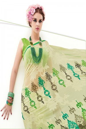 Liril Green Pure Marble Brasso Print Work  Saree