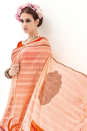 Orange Red Pure Marble Brasso Print Work  Saree