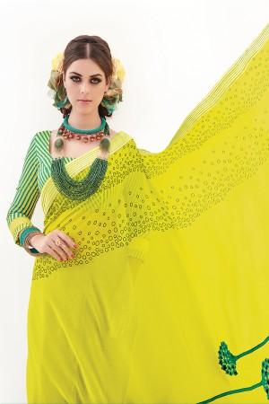 Lemon&Rama Checks Silk Embroidery and Print Work Saree