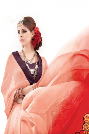 Peach&Red&Wine Sheded Pure Chiffon Embroidery and Print Saree