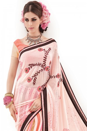 Peach Pure Chiffon 3DEmbroidery and Print Work Saree