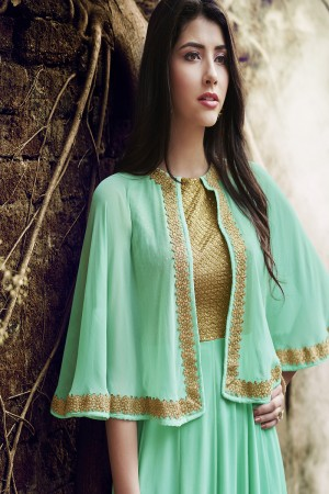Turquoise Green Georgette Embroidery Work on Neck Salwar Kameez