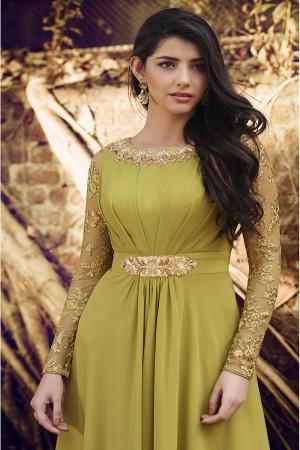 Pleated Green Georgette Sleeves in Net With Self Embroidery Thread Work Salwar Kameez