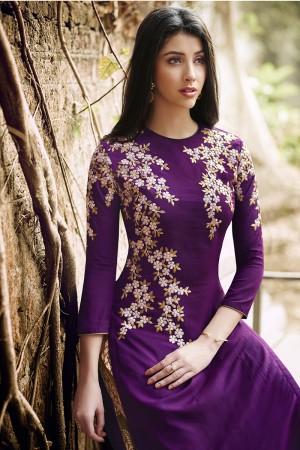 Wine Georgette Straight Cut Suit With Multi Embroidery Work Salwar Kameez