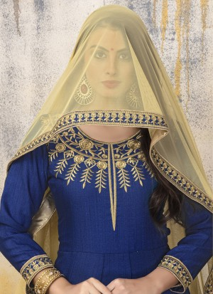 Royal Blue Banglori Silk Heavy Embroidery Zari Work and Dupatta with Lace Border Anarkali Suit