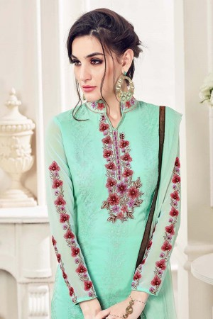 Mint Light Green Georgette Straight Cut Suit With Thread Embroidery Work in Neck & Arms Salwar Kameez