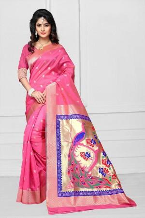 Pink Art silk Jacquard Saree