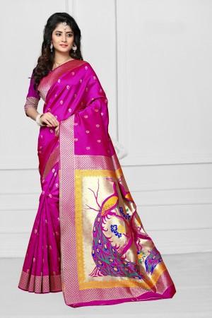 Rani Pink Art silk Jacquard Saree
