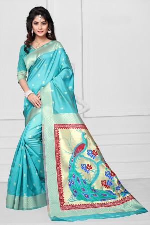 Sky Blue Art silk Jacquard Saree