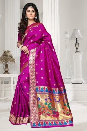 Magenta Art silk Jacquard Saree