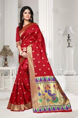 Red Art silk Jacquard Saree