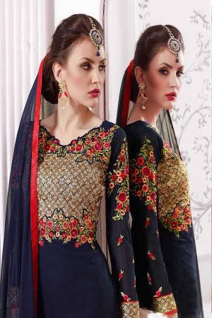 Blue Georgette Embroidery Salwar Kameez