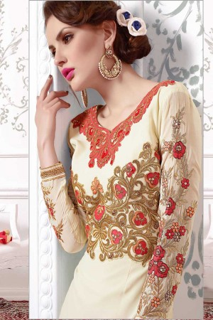Cream Georgette Embroidery Salwar Kameez